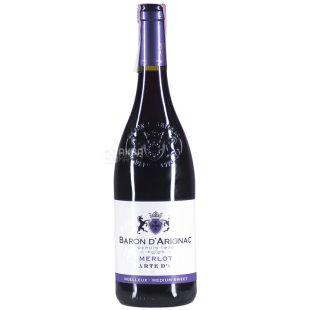 Baron d'Arignac, Merlot, Вино червоне напівсолодке, 0,75 л