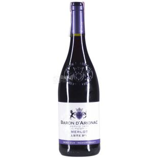 Baron d'Arignac, Merlot, Вино красное полусладкое, 0,75 л
