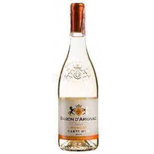 Baron d'Arignac, Muscat, Вино белое полусладкое, 0,75 л