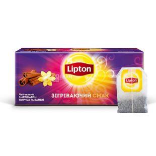 Lipton, Warming tasty, 25 пак., Чай Липтон, Вкусное потепление, Черный с ароматом корицы и ванили