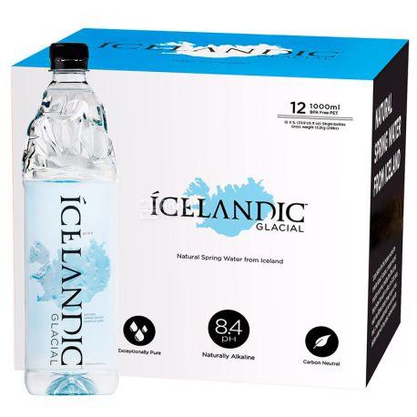 Icelandic Glacial, 1 л, упаковка 12 шт., Айсландик Глесиал, Вода минеральная негазированная, ПЭТ