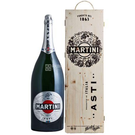 Martini Asti 6л, Игристое вино, 7,5%, в деревянной подарочной коробке