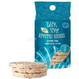 Tasty Style, Хлібці з бурим рисом та морською сіллю, безглютенові, 100 г