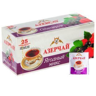 Azerçay, Ягідний Мікс, 25 пак * 2 г, Чай Азерчай, чорний з ароматом лісових ягід