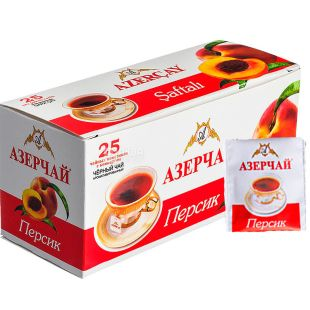 Azerçay, Peach, 25 pack * 2 g, Azerchay tea, black with fruit flavor