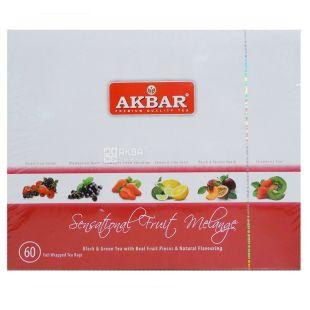 Akbar Fruit Melange, 60 пак, Подарунковий набір чаю, асорті, Акбар Фрут Меланж