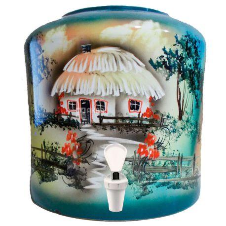 Диспенсер для воды Деревня, зеленый, керамика