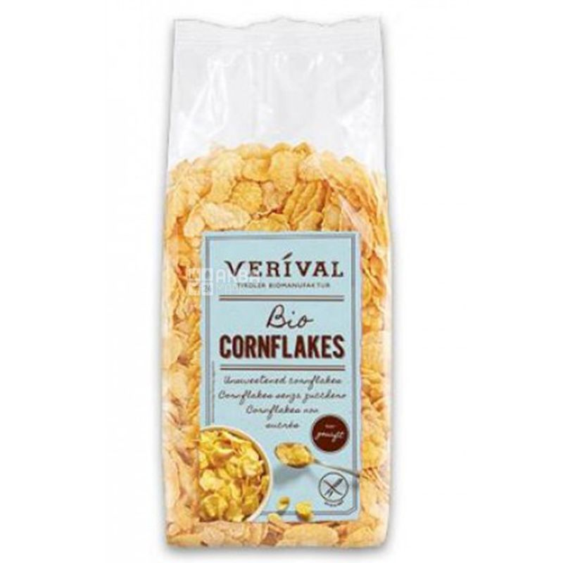 Verival, 250 г, Хлопья Веривал, кукурузные, органические, без сахара, без глютена