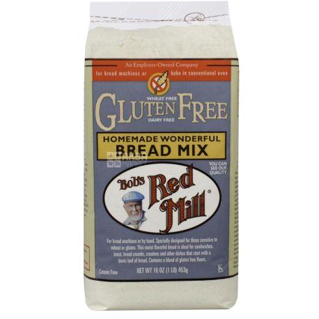 Bob's Red Mill, Bread Mix, 0,453 кг, Мука Бобс Ред Милл, смесь для выпечки домашнего хлеба, без глютена