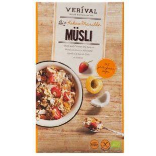 Verival, 325 г, Мюсли Веривал, смесь злаков, кокос, абрикос, органические, сухой завтрак, быстрого приготовления