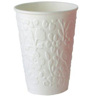 Стакан бумажный двухслойный с тиснением Цветочки, белый, 500 мл, 15 шт.