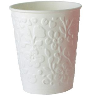 Glass paper two-layer with embossed Flowers, white, 110 ml, 15 pcs.