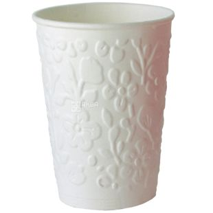 Glass paper two-layer with embossed Flowers, white, 180 ml, 15 pcs.