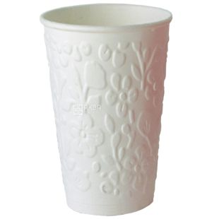 Glass paper two-layer with embossed Flowers, white, 340 ml, 15 pcs.
