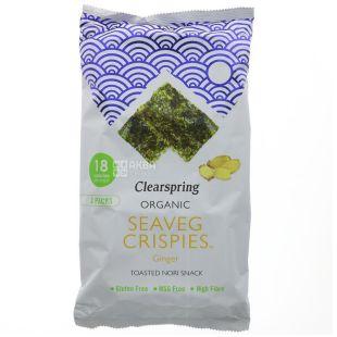 Clearspring, Водорості морські хрусткі, органічні, Імбир, 3х4 г
