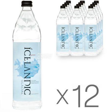 Icelandic Glacial, 0,75 л, упаковка 12 шт., Айсландик Глесиал, Вода минеральная негазированная, стекло