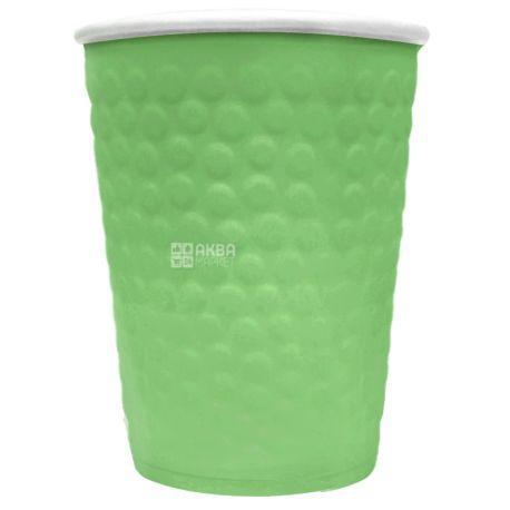 Стакан бумажный двухслойный с тиснением Пузыри, зеленый, 180 мл, 15 шт., D71