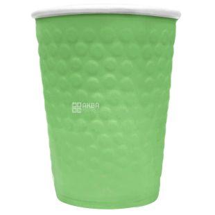 Стакан паперовий двошаровий з тисненням Бульбашки, зелений, 180 мл, 15 шт., D71