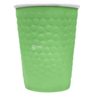 Glass paper double-layer with embossed Bubbles, green, 250 ml, 15 pcs.