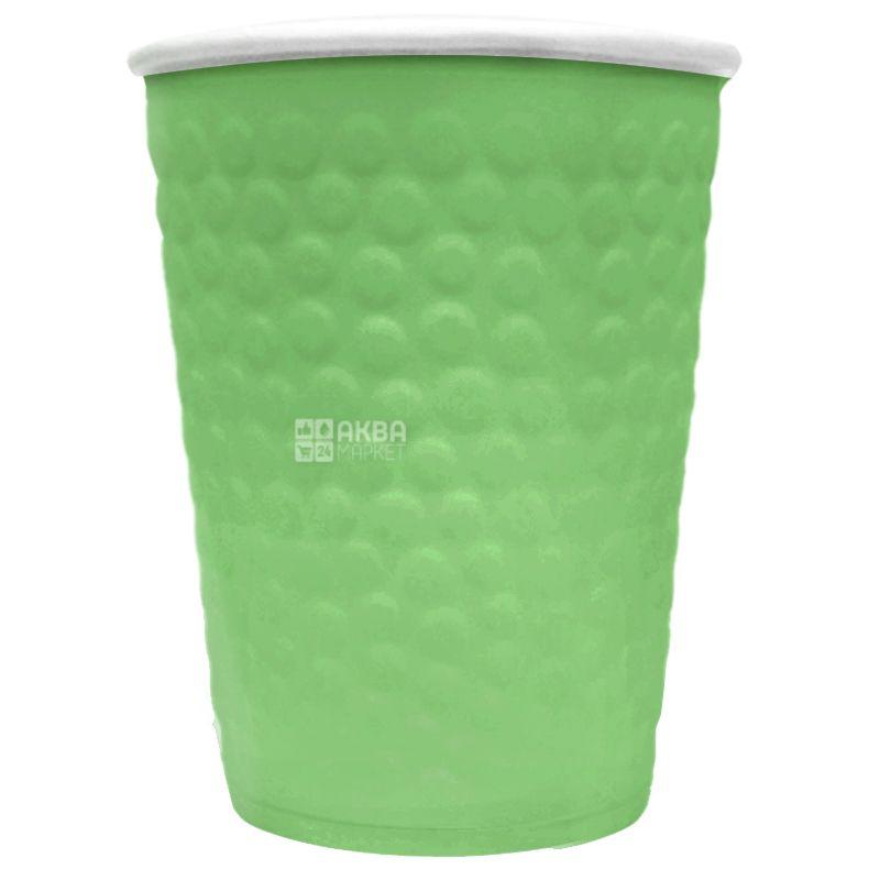 Стакан бумажный двухслойный с тиснением Пузыри, зеленый, 340 мл, 15 шт., D80