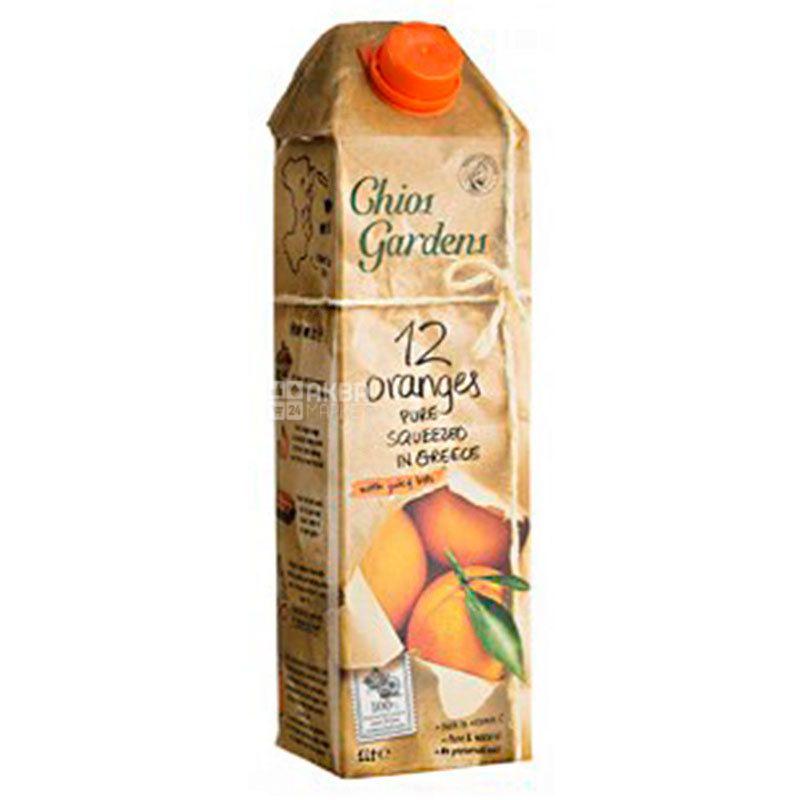 Chios Gardens, 12 Оranges, 1 л, Хіос Гарденс, Сік з м'якоттю, прямого віджиму