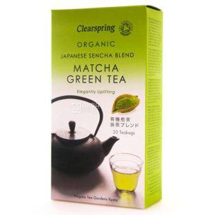 Clearspring, Matcha, 20 пак * 2 г, Чай Кліаспрінг, Матча, зелений, органічний