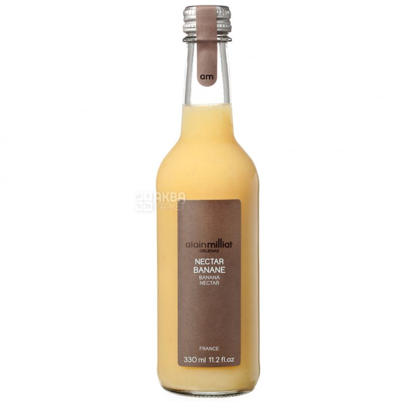 Alain Milliat, Nectar Banane, Банановий, 0,33 л, Ален Мілліат, Нектар натуральний, скло