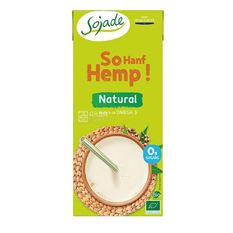 Sojade So Hemp Organic, 1 л, Сояде, Конопляное молоко, органическое, без сахара и лактозы