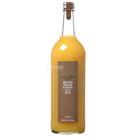 Alain Milliat, Nectar Peche Blanche, Белый Персик, 1 л, Ален Миллиат, Нектар натуральный, стекло