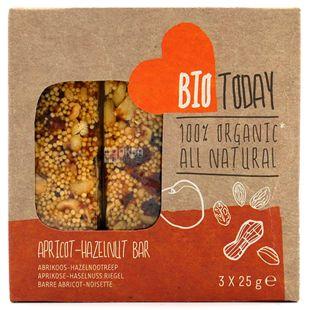 Bio Today, Батончик злаковий Абрикос-Фундук органічний, 3 шт. *25 г
