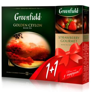 Greenfield Golden Ceylon, Чай чорний, 100 шт. + Greenfield Strawberry Gourmet, Чай чорний, 25 шт.