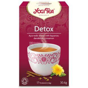 YogiTea, Detox, 17 пак., Чай ЙогиТи, Детокс, травяной с корицей и лакрицей, органический