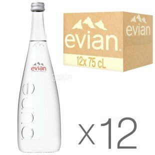 Evian, 0,75л, Упаковка 12 шт., Эвиан, Вода негазированная, стекло