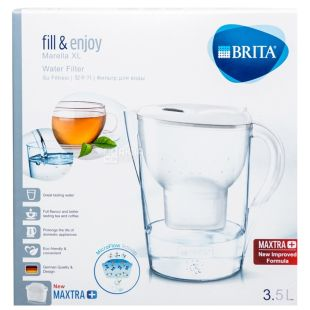 Brita Marella, Water Filter, Jug, White, 3.5 L