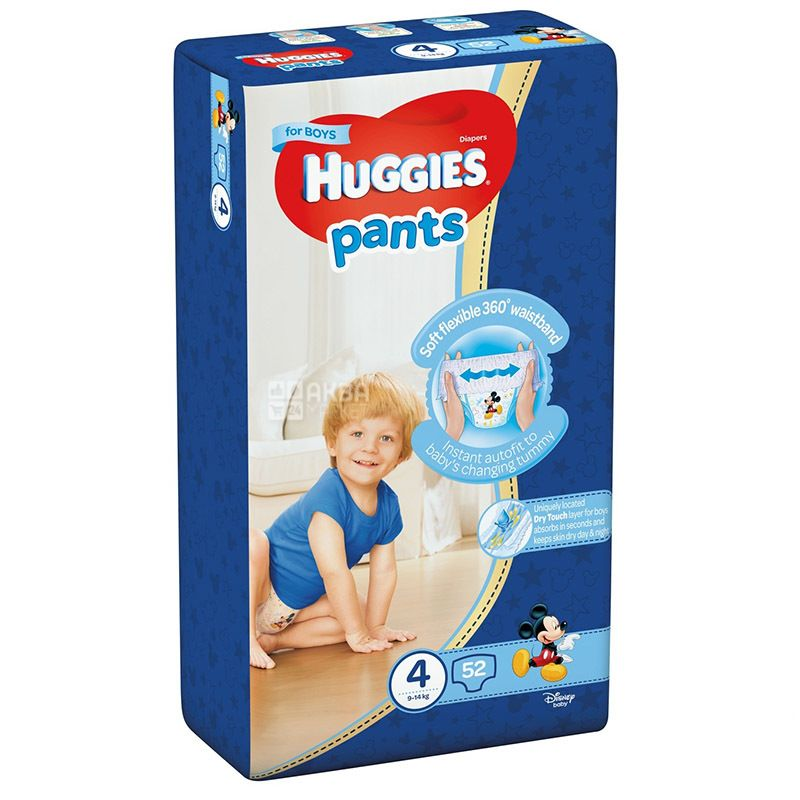 Huggies, Трусики-подгузники Pants 4 Mega для мальчиков, 9-14 кг, 52 шт.