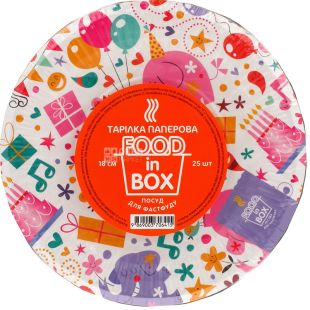 Food in Box, Disposable paper plates, 18 cm, 25 pcs.