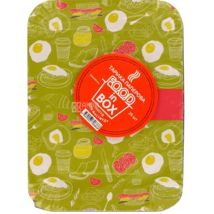 Food in Box, Disposable paper plates, 228x168 mm, 25 pcs.