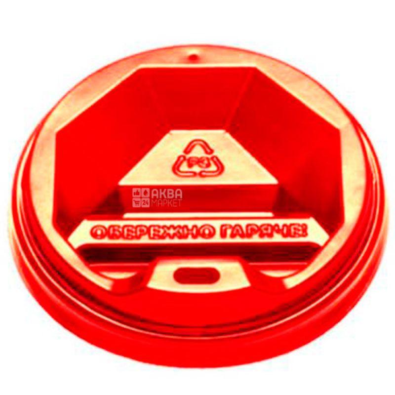 Крышка на одноразовый стакан 400 мл, красная, 50 шт, D90