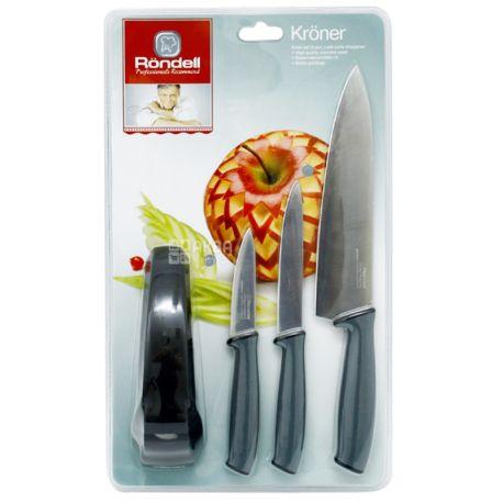 Rondell, Набір ножів з точилкою, 20 см, 12,7 см, 9 см