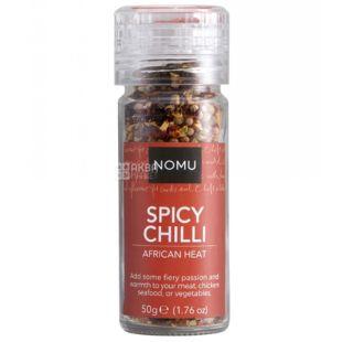 Nomu Spicy Chilli, Суміш спецій Гострий чилі, Млин, 50 г