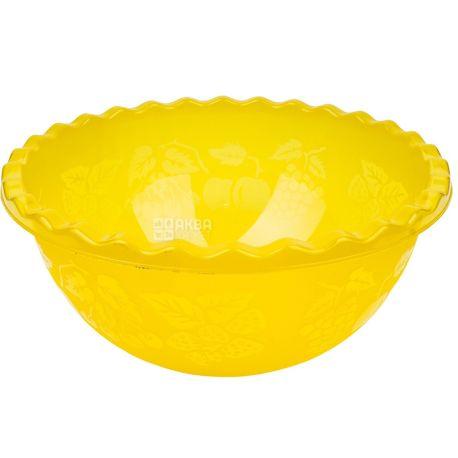 Al-Plastic, Таз для фруктов, пластик, желтый, 9 л
