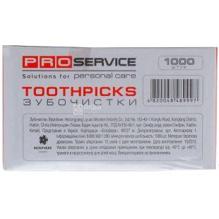 Pro Service, Зубочистки в индивидуальной полиэтиленовой упаковке, 1000 шт.
