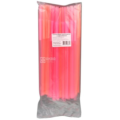 Happy Party, Fresh straws with fluorescent corrugation, pink, 50 pcs