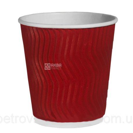 Corrugated paper glass, red, 175 ml, 20 pcs.