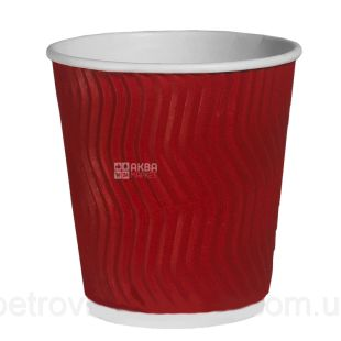 Corrugated paper glass, red, 175 ml, 20 pcs.