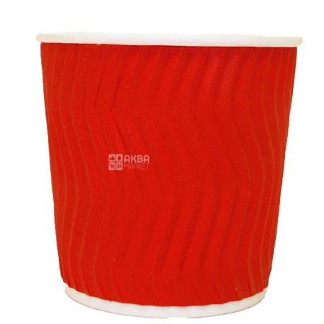 Alfa Pak, Red corrugated paper glass, 110 ml, 15 pcs.