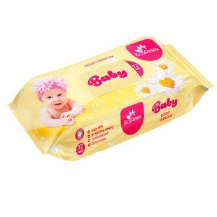ECORelax Baby, 72 шт., Серветки вологі Екорелакс, Дитячі, С ромашкою, для догляду за шкірою