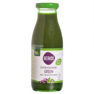 Berioo, Superfood-drink, Green, 0, 25 л, Берио, Напиток соковый Асаи, Шпинат и Зеленая капуста, органический, стекло