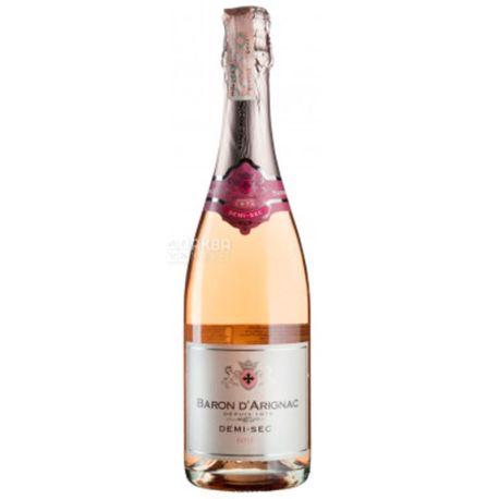 Baron d'Arignac Rose Demi-Sec sparkling, Вино игристое розовое полусухое, 0,75 л