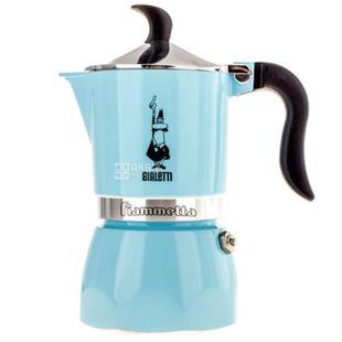 Bialetti, Кофеварка гейзерная Fiametta, голубая, на 3 чашки, 150 мл